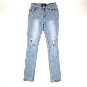 Light Wash Skinny Butt Lifting Jeans   Wax Jean